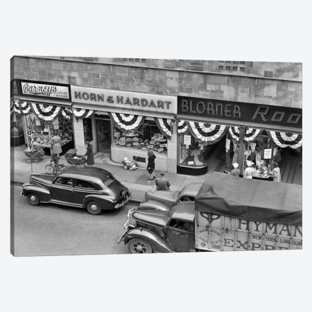 1940s Store Fronts Decorated With Parade Bunting Main Street 82Nd Street Jackson Heights Queens New York City USA Canvas Print #VTG225} by Vintage Images Canvas Art Print