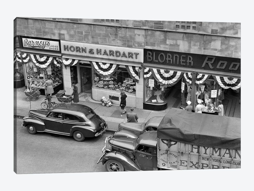 1940s Store Fronts Decorated With Parade Bunting Main Street 82Nd Street Jackson Heights Queens New York City USA by Vintage Images 1-piece Canvas Artwork