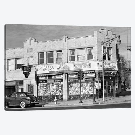1940s Storefront Drugstore Windows Full Of Products Advertising Lunch Fountain Canvas Print #VTG226} by Vintage Images Canvas Print