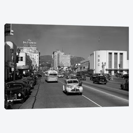 1940s Street Scene View Down Vine Street NBC Studio The Broadway Hotel Near Sunset Boulevard Hollywood Los Angeles USA Canvas Print #VTG227} by Vintage Images Art Print