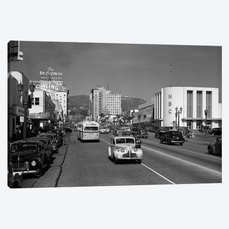 1940s Street Scene View Down Vine Street NBC Studio The Broadway Hotel Near Sunset Boulevard Hollywood Los Angeles USA Canvas Print #VTG227} by Vintage Images Art Print