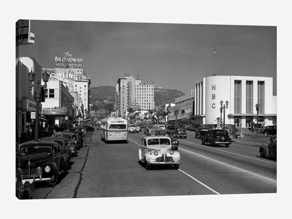 1940s Street Scene View Down Vine Street NBC Studio The Broadway Hotel Near Sunset Boulevard Hollywood Los Angeles USA by Vintage Images 1-piece Canvas Art