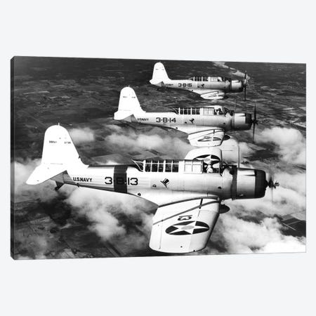 1940s Three World War Ii Us Navy Dive Bombers Flying In Formation Canvas Print #VTG228} by Vintage Images Canvas Artwork