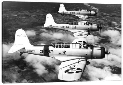 1940s Three World War Ii Us Navy Dive Bombers Flying In Formation Canvas Art Print
