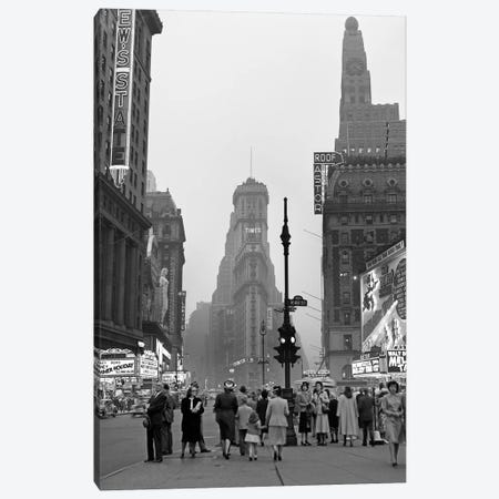 1940s Times Square At Twilight Night Looking South From Duffy Square Towards NY Times Building Pedestrians Neon Movie Marquees Canvas Print #VTG229} by Vintage Images Canvas Art