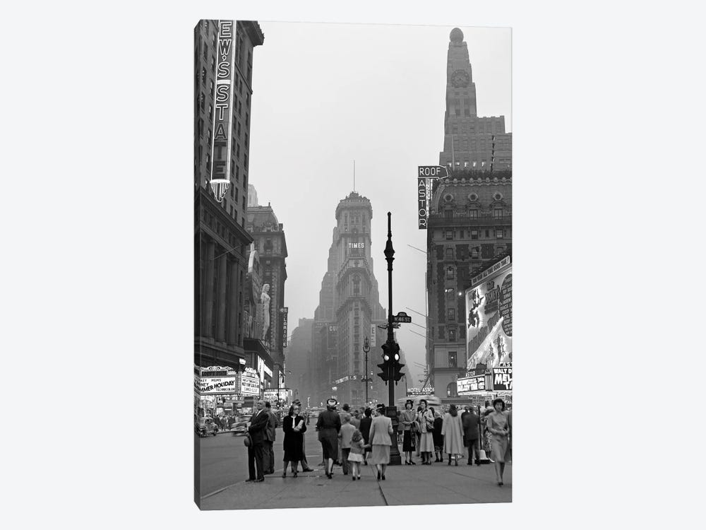 1940s Times Square At Twilight Night Looking South From Duffy Square Towards NY Times Building Pedestrians Neon Movie Marquees by Vintage Images 1-piece Canvas Wall Art