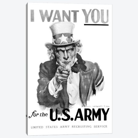 1910s World War One I Want You Uncle Sam United States Army Recruiting Poster By Artist J.M. Flagg Canvas Print #VTG22} by Vintage Images Canvas Art