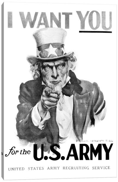 1910s World War One I Want You Uncle Sam United States Army Recruiting Poster By Artist J.M. Flagg Canvas Art Print