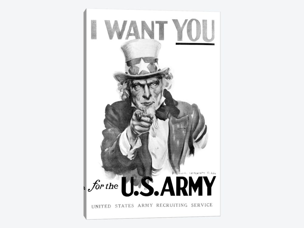 1910s World War One I Want You Uncle Sam United States Army Recruiting Poster By Artist J.M. Flagg by Vintage Images 1-piece Canvas Wall Art