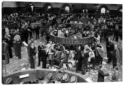 1940s Trading In Progress On Floor Of New York Stock Exchange NYC USA Canvas Art Print