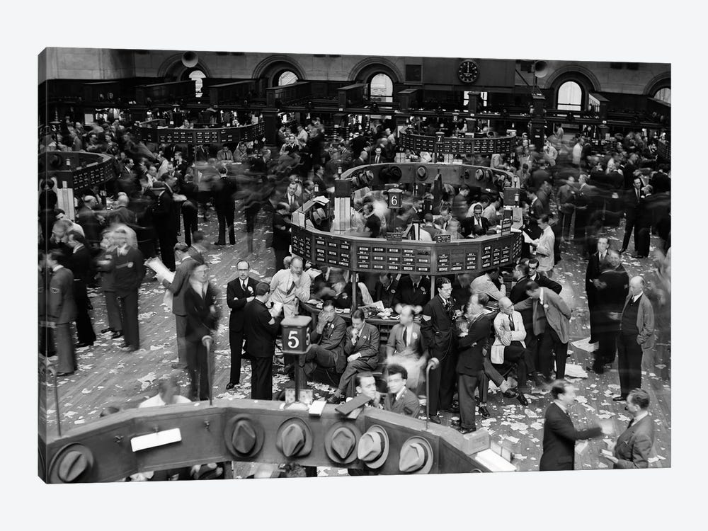 1940s Trading In Progress On Floor Of New York Stock Exchange NYC USA by Vintage Images 1-piece Canvas Print