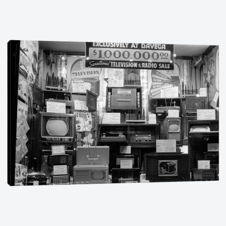 1940s Window Of Store Selling Radios And Televisions Advertising A Million Dollar Sale Canvas Print #VTG233} by Vintage Images Canvas Print