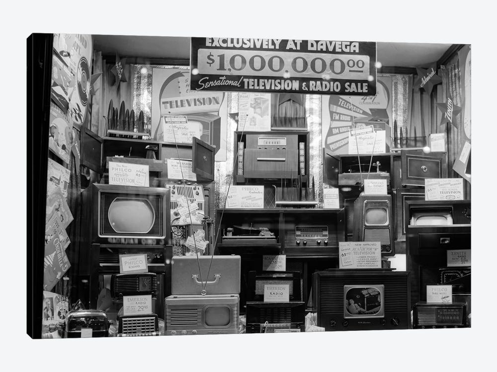 1940s Window Of Store Selling Radios And Televisions Advertising A Million Dollar Sale by Vintage Images 1-piece Canvas Art Print