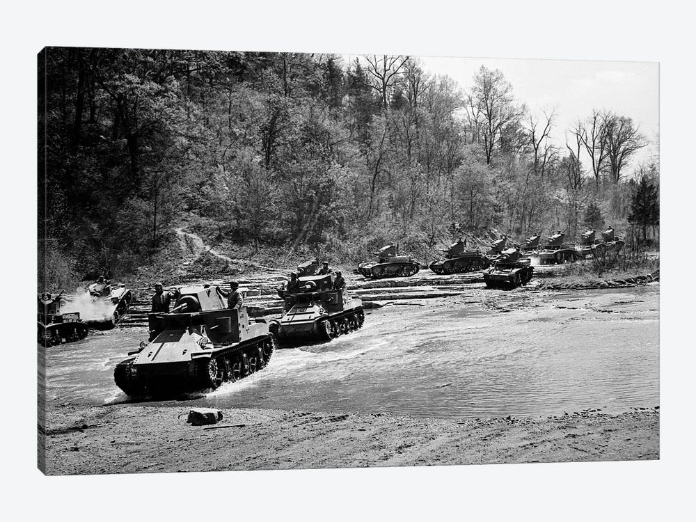 1940s World War Ii 12 Us Army Armored Tanks On Maneuvers Crossing A River Stream by Vintage Images 1-piece Canvas Artwork