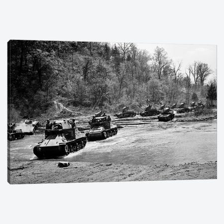 1940s World War Ii 12 Us Army Armored Tanks On Maneuvers Crossing A River Stream Canvas Print #VTG234} by Vintage Images Canvas Wall Art