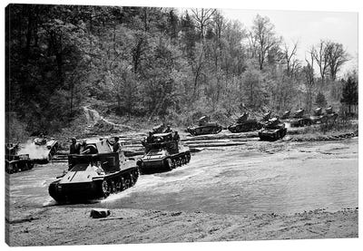 1940s World War Ii 12 Us Army Armored Tanks On Maneuvers Crossing A River Stream Canvas Art Print