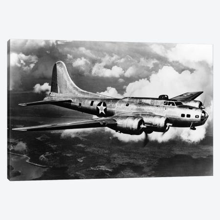 1940s World War II Airplane Boeing B-17E Bomber Flying Through Clouds Canvas Print #VTG235} by Vintage Images Canvas Wall Art