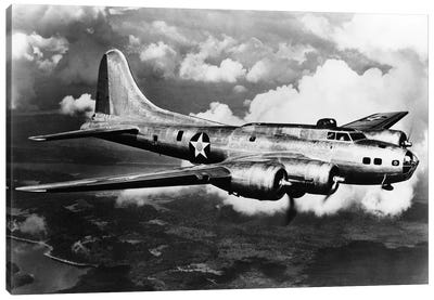 1940s World War II Airplane Boeing B-17E Bomber Flying Through Clouds Canvas Art Print