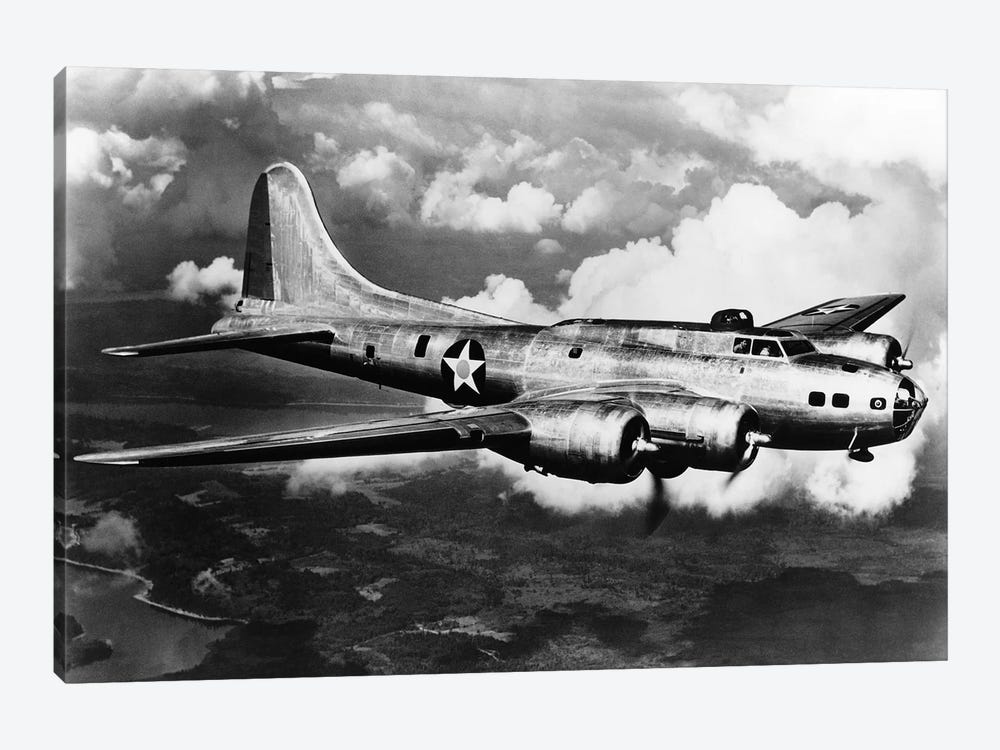 1940s World War II Airplane Boeing B-17E Bomber Flying Through Clouds 1-piece Canvas Print