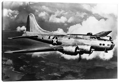 1940s World War II Airplane Boeing B-17E Bomber Flying Through Clouds Canvas Art Print