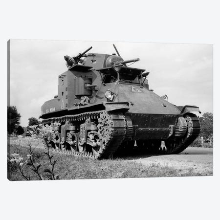1940s World War Ii Era Us Army Tank One Unidentified Man Soldier Manning A Machine Gun Canvas Print #VTG236} by Vintage Images Canvas Artwork