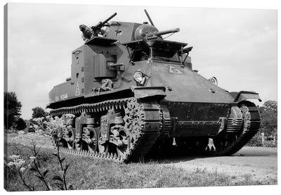 1940s World War Ii Era Us Army Tank One Unidentified Man Soldier Manning A Machine Gun Canvas Art Print