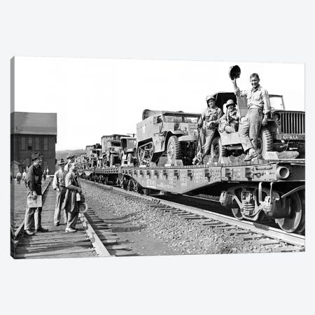 1940s World War Ii Freight Train Of Jeeps And Half Tracks On Way To The Front Factory Workers Bid Farewell To Soldiers On Train Canvas Print #VTG237} by Vintage Images Canvas Art