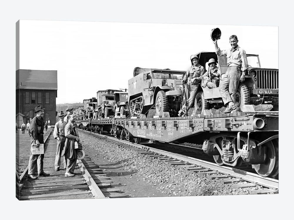 1940s World War Ii Freight Train Of Jeeps And Half Tracks On Way To The Front Factory Workers Bid Farewell To Soldiers On Train by Vintage Images 1-piece Art Print