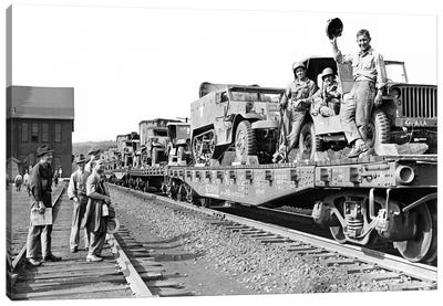 1940s World War Ii Freight Train Of Jeeps And Half Tracks On Way To The Front Factory Workers Bid Farewell To Soldiers On Train Canvas Art Print