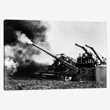 1940s WW II Big Artillery Railroad Gun Firing Canvas Print #VTG238} by Vintage Images Canvas Art Print
