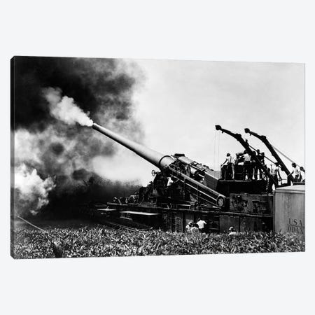 1940s WW II Big Artillery Railroad Gun Firing Canvas Print #VTG238} by Vintage Images Canvas Art Print
