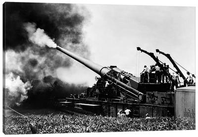 1940s WW II Big Artillery Railroad Gun Firing Canvas Art Print
