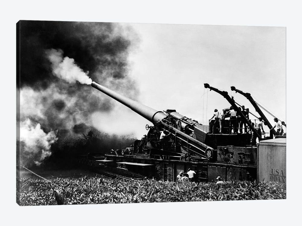 1940s WW II Big Artillery Railroad Gun Firing by Vintage Images 1-piece Canvas Artwork