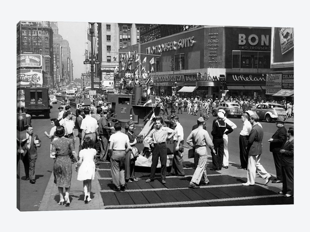 1940s WW II Wartime Pedestrians Traffic Two Sailors Model Of Navy Ship Recruiting Station Times Square Manhattan New York USA by Vintage Images 1-piece Art Print