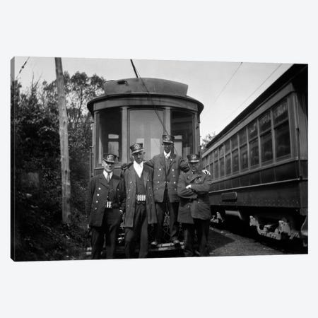 1910s-1920s 4 Men Conductors Motormen Public Transportation Transit Workers Posing In Front Of Trolley Car In Uniforms And Hats Canvas Print #VTG23} by Vintage Images Canvas Wall Art