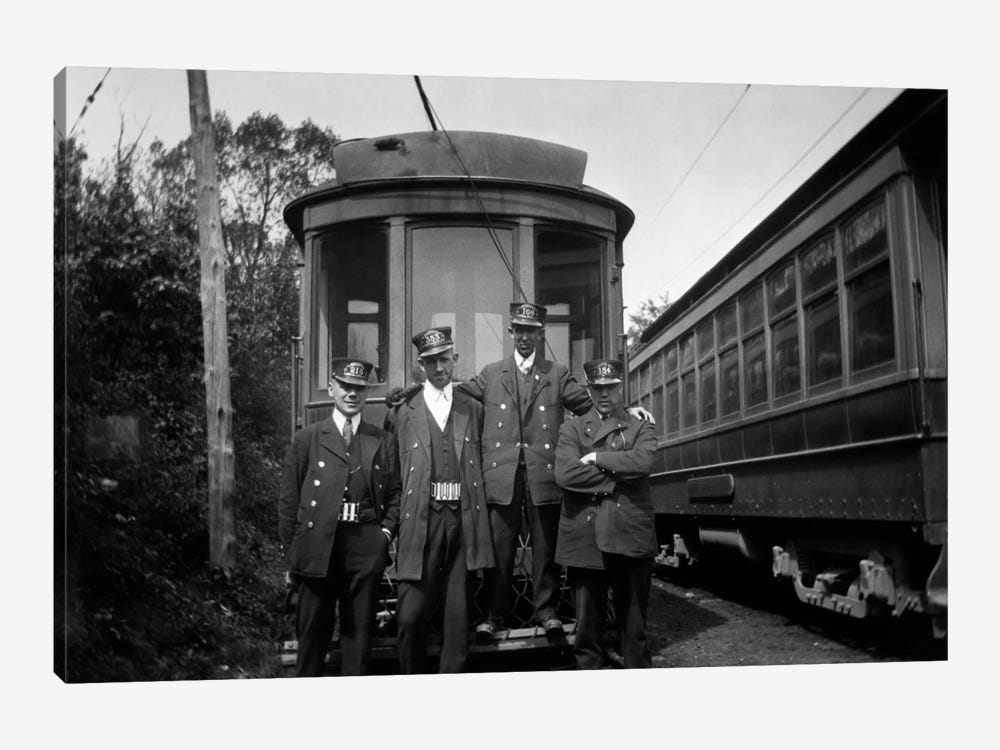 1910s-1920s 4 Men Conductors Motormen Public Transportation Transit Workers Posing In Front Of Trolley Car In Uniforms And Hats by Vintage Images 1-piece Canvas Print