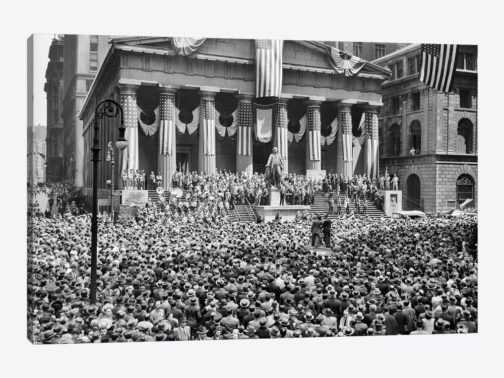 1940s-1942 WW II War Bond Rally New York Stock Exchange Wall Street NYC USA by Vintage Images 1-piece Art Print