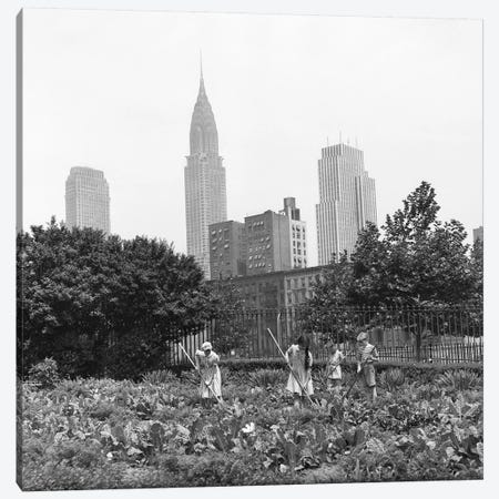1940s-1943 Children Working In Victory Gardens In St. Gabriel's Park New York City Chrysler Building Visible In Background Canvas Print #VTG241} by Vintage Images Canvas Artwork