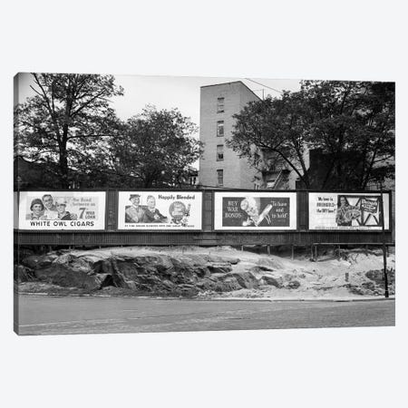 1940s-1945 Wartime Billboards For Cigars Beer Coca Cola All Promoting War Bonds Burnside Avenue In The Bronx New York Canvas Print #VTG242} by Vintage Images Canvas Wall Art