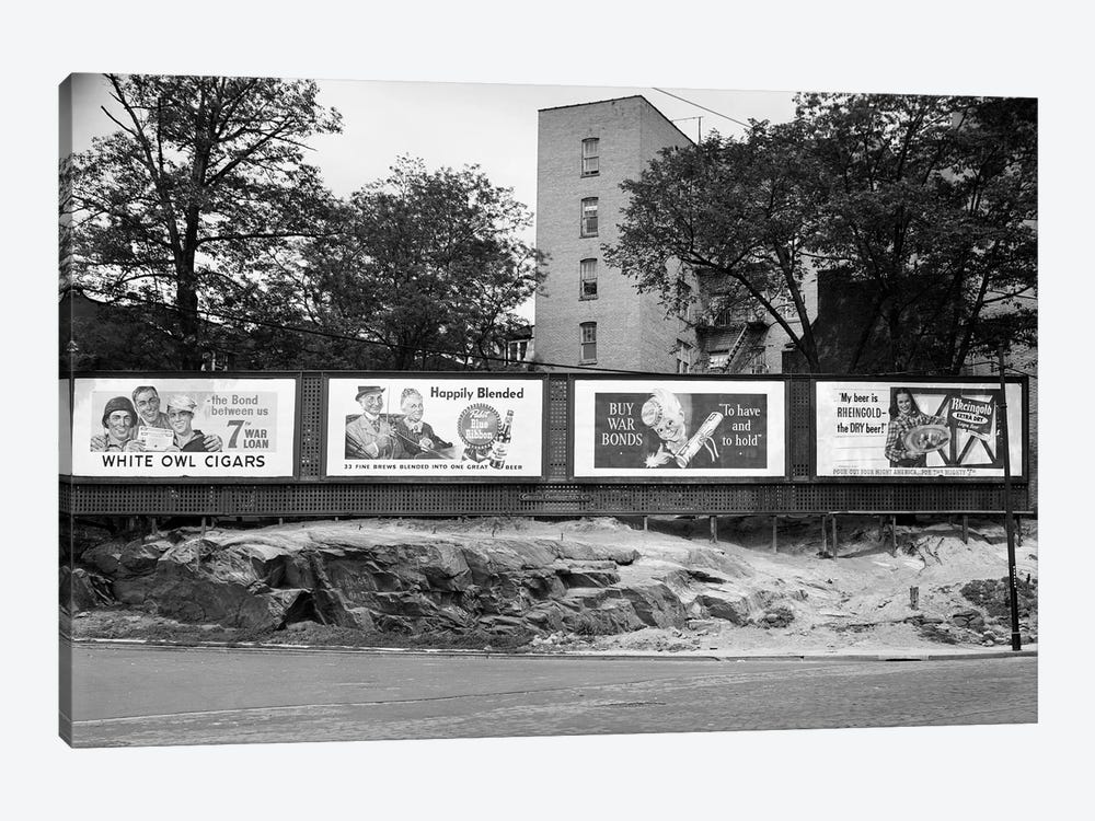 1940s-1945 Wartime Billboards For Cigars Beer Coca Cola All Promoting War Bonds Burnside Avenue In The Bronx New York by Vintage Images 1-piece Canvas Art Print