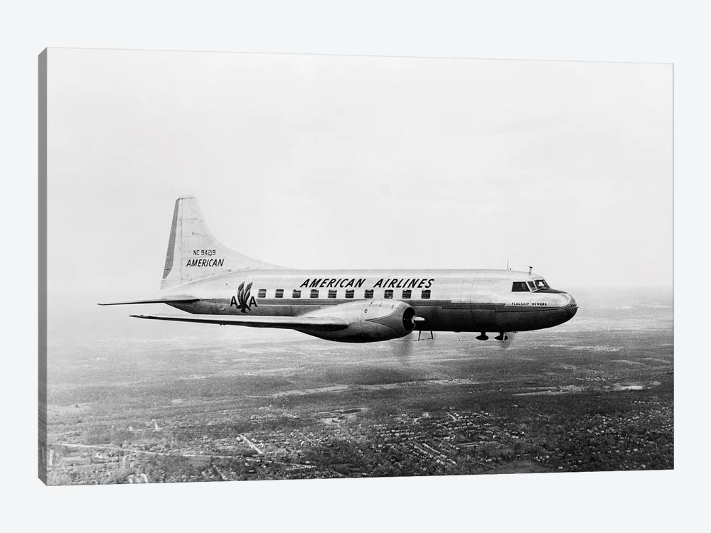 1940s-1950s American Airlines Convair Flagship Propeller Aircraft In Flight by Vintage Images 1-piece Canvas Art Print