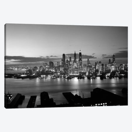 1940s-1950s Downtown Manhattan East Side Financial Area Night Skyline New York City NY USA Canvas Print #VTG246} by Vintage Images Canvas Art Print