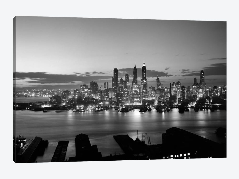 1940s-1950s Downtown Manhattan East Side Financial Area Night Skyline New York City NY USA by Vintage Images 1-piece Canvas Print