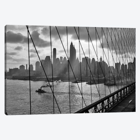 1940s-1950s Downtown Skyline Manhattan Seen Through Cables Of Brooklyn Bridge Tug Boat In East River NYC NY USA Canvas Print #VTG247} by Vintage Images Art Print