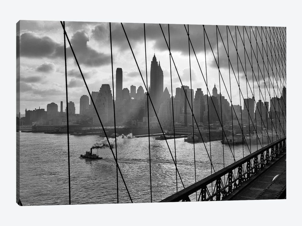 1940s-1950s Downtown Skyline Manhattan Seen Through Cables Of Brooklyn Bridge Tug Boat In East River NYC NY USA by Vintage Images 1-piece Canvas Wall Art