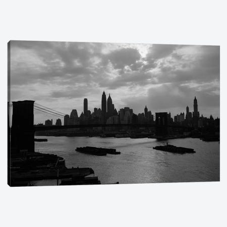 1940s-1950s Dramatic Sunset Downtown New York City Skyline With Brooklyn Bridge Barges In East River NYC NY USA Canvas Print #VTG248} by Vintage Images Canvas Wall Art
