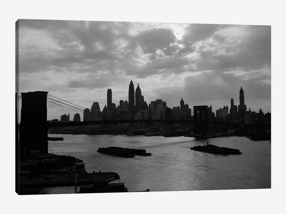 1940s-1950s Dramatic Sunset Downtown New York City Skyline With Brooklyn Bridge Barges In East River NYC NY USA by Vintage Images 1-piece Art Print