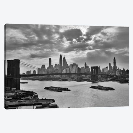 1940s-1950s Dramatic Sunset Downtown New York City Skyline With Brooklyn Bridge Barges In East River NYC, NY, USA Canvas Print #VTG249} by Vintage Images Canvas Art