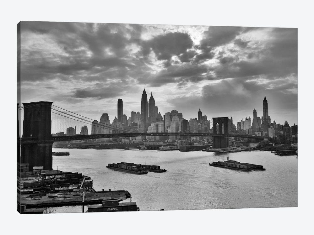 1940s-1950s Dramatic Sunset Downtown New York City Skyline With Brooklyn Bridge Barges In East River NYC, NY, USA by Vintage Images 1-piece Canvas Artwork