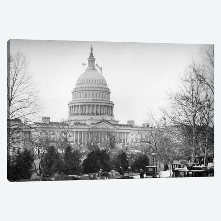 1910s-1920s Capitol Building Washington, D.C. Line Of Cars Parked On Street In Foreground Canvas Print #VTG24} by Vintage Images Canvas Print